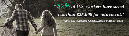 40% of U.S. workers have saved less than $25,000 for retirement.* -- *2019 Retirement Confidence Survey, EBRI